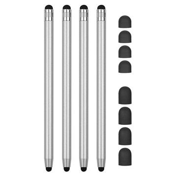 2-in-1 Universele Capacitieve Stylus Pen 4 St. Zilver