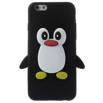 iPhone 6-6S 3D Pinguin Siliconen Hoesje Zwart