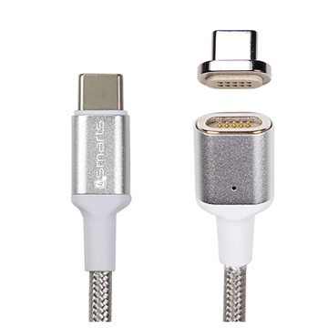 4smarts Gravitycord Ultimate Magnetische Usb-C Naar Usb-C Kabel - 1.8m - Zilver