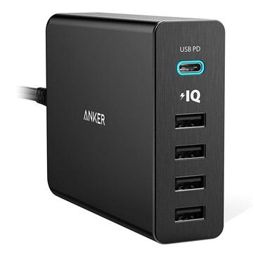 Anker PowerPort+ 5 Fast Snel Lader 1 x USB-C PD, 4 x USB 60W