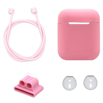 4-in-1 Apple AirPods Silicone Accessoires Set Roze