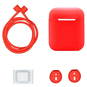4-in-1 Apple AirPods Silicone Accessoires Set Rood