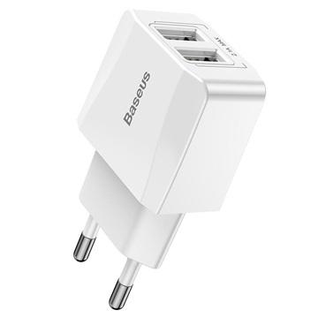 Baseus Mini Dubbele USB Stopcontact Lader 12W Wit