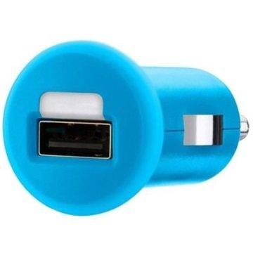 Micro autolader USB 1 Amp blauw
