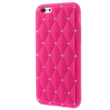 iPhone 6-6S Bling Diamond Siliconen Hoesje Hot Pink