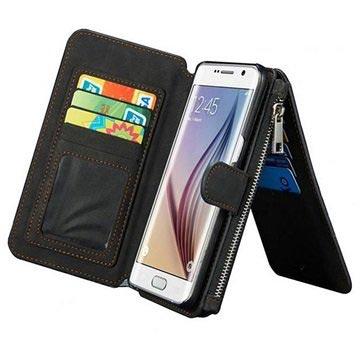 Samsung Galaxy S6 Caseme Multifunctionele Wallet Leren Hoesje Zwart