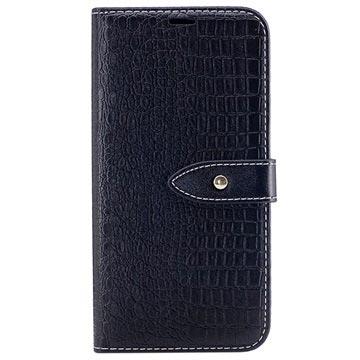 Samsung Galaxy J5 (2017) Croco Wallet Case Zwart