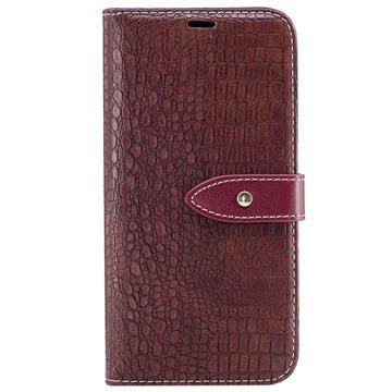 Samsung Galaxy J5 (2017) Croco Wallet Case Wijnrood