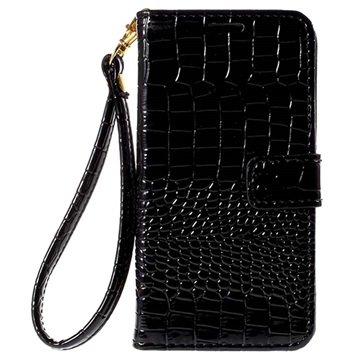 Samsung Galaxy J5 Crocodile Wallet Hoesje Zwart