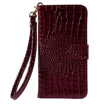 Samsung Galaxy J5 Crocodile Wallet Hoesje Rood