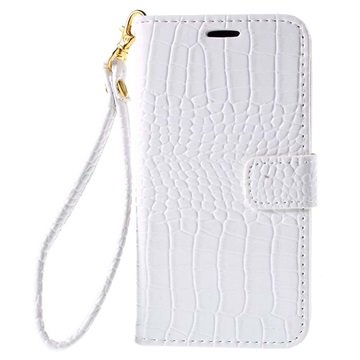 Samsung Galaxy J5 Crocodile Wallet Hoesje Wit