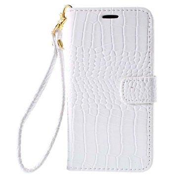 Samsung Galaxy J5 Crocodile Wallet Hoesje Wit