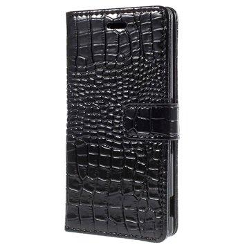 Sony Xperia Z3+ Crocodile Wallet Hoesje Zwart