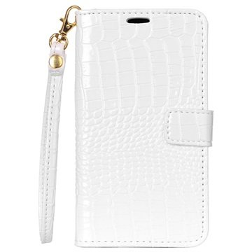 Microsoft Lumia 550 Crocodile Wallet Hoesje Wit