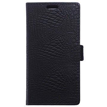 Microsoft Lumia 650 Crocodile Wallet Hoesje Zwart