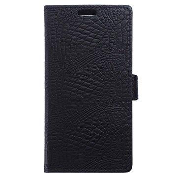 OnePlus 3 Crocodile Wallet Case Zwart