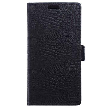 OnePlus X Crocodile Wallet Hoesje Zwart