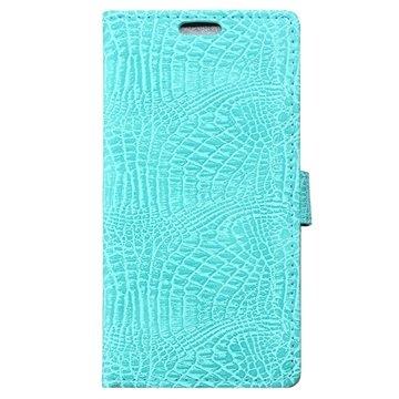 OnePlus X Crocodile Wallet Hoesje Cyan