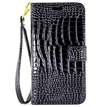 Samsung Galaxy C5 Crocodile Wallet Case Zwart