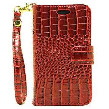 Samsung Galaxy J1 Nxt Crocodile Wallet Case Rood