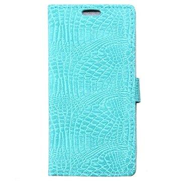 Samsung Galaxy J7 Crocodile Wallet Hoesje Cyan