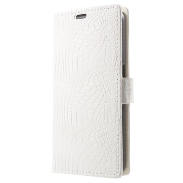 Samsung Galaxy S6 Crocodile Wallet Hoesje Wit