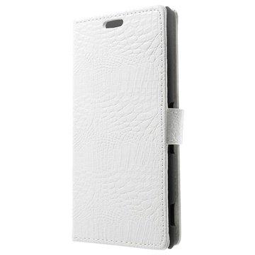 Sony Xperia Z3 Crocodile Wallet Leren Hoesje Wit