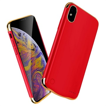 Electroplated iPhone XS Max Batterij Hoesje Rood-Goud