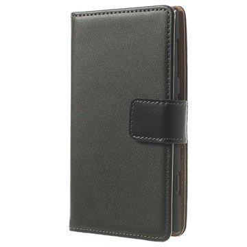 Nokia Lumia 1020 Wallet Leren Hoesje Zwart