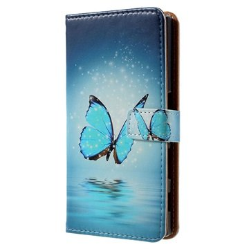 Sony Xperia X Compact Glam Wallet Case - Blauw Vlinder