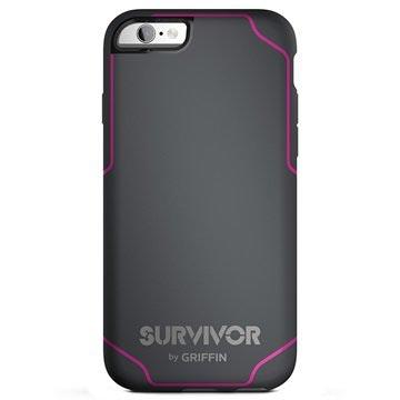 iPhone 6 Plus/6S Plus Griffin Survivor Journey Cover Donkergrijs / Roze