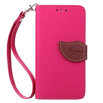 Samsung Galaxy J5 (2016) Leaf Wallet Case Hot Pink