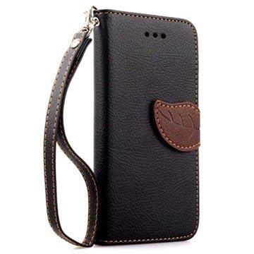 iPhone 6 Plus-6S Plus Leaf Wallet Leren Hoesje Zwart