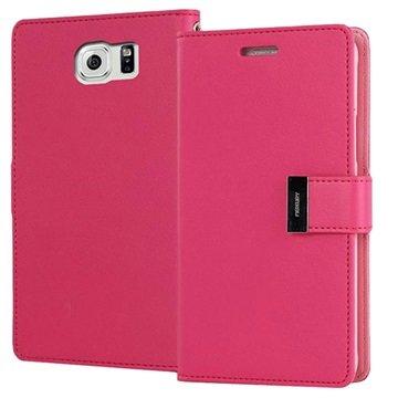 Samsung Galaxy S6 Mercury Goospery Rich Diary Wallet Case Hot Pink