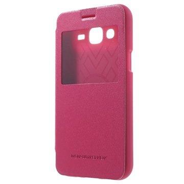 Samsung Galaxy J5 Mercury Goospery Wow Bumper View Flip Case Hot Pink