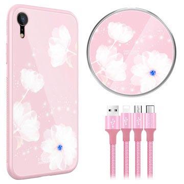 Nillkin Fancy iPhone XR Cover-Draadloze Oplader-3-in-1 Kabel Roze