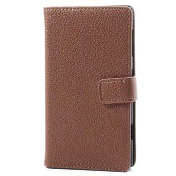 Nokia Lumia 1020 Wallet Leren Hoesje Bruin