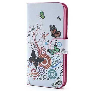 iPhone 5-5S-SE Wallet Leren Hoesje Vlinders-Cirkels