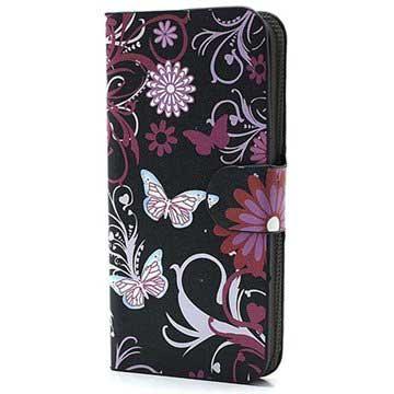 iPhone 5-5S-SE Wallet Leren Hoesje Vlinders-Bloemen