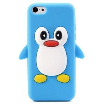 iPhone 5C 3D Penguin Siliconen Hoesje Baby Blauw