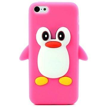 iPhone 5C 3D Penguin Siliconen Hoesje Hot Pink