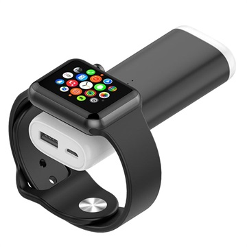 Draagbare Apple Watch Draadloze Oplader-Powerbank Zwart
