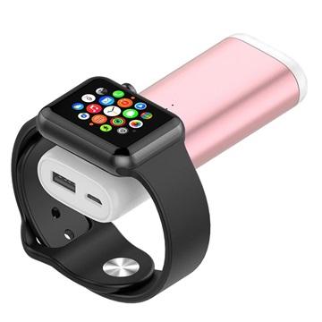Draagbare Apple Watch Draadloze Oplader-Powerbank Rose Gold