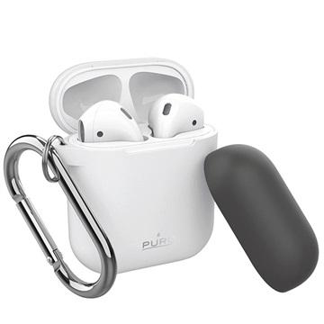 Puro Icon Airpods Siliconen Hoesje met Karabijnhaak Wit-Donkergrijs