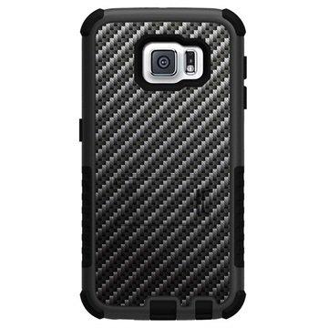 Samsung Galaxy S6 Beyond Cell Tri Shield Design Hybride Cover Carbon Fiber Zwart