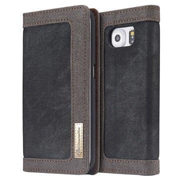 Samsung Galaxy S6 Caseme Canvas Wallet Case Zwart