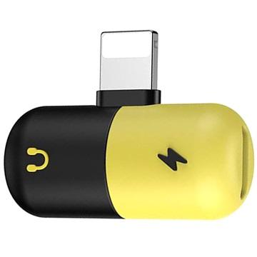 Silicone 2-in-1 Lightning Audio Adapter Zwart-Geel