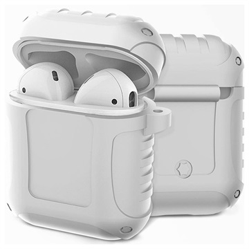 AirPods Siliconen Hoesje Shockproof Armor Wit