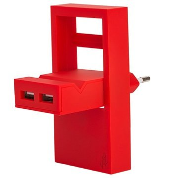 Usbepower Rock Dubbele USB-lader 2.1A Rood