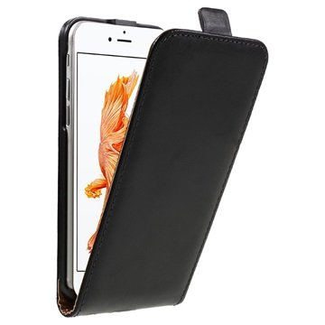 iPhone 7 Verticale Flip Case Zwart